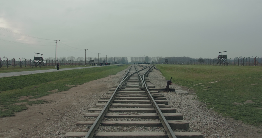 Train tracks leading to the Auschwitz birkenau concentration camp in Poland during the Holocaust in World War 2.