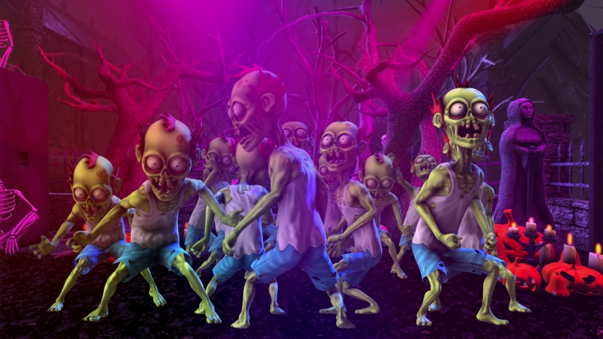Seamless animation of a group of zombies thriller dancing in a party at a graveyard with skeletons and pumpkins. Funny cartoon character for Halloween background. | Shutterstock HD Video #1058302003