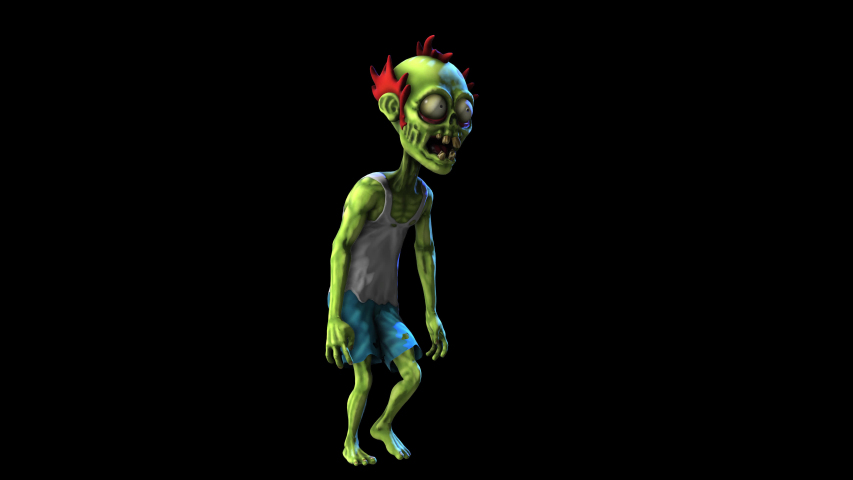 Seamless animation of a walking zombie isolated with alpha channel. Funny cartoon character for Halloween background. | Shutterstock HD Video #1058302018