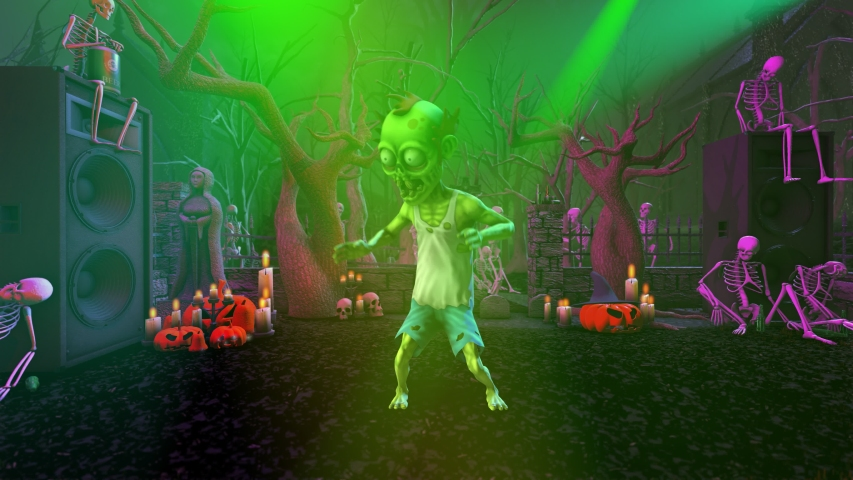 Seamless animation of a zombie silly dancing in a party at a graveyard with skeletons and pumpkins. Funny cartoon character for Halloween background. | Shutterstock HD Video #1058302039