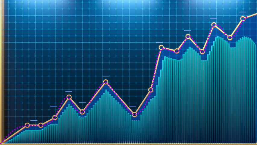 Beautiful 3D animation of rising arrows and blue bar graph. A diagram is showing increasing profits or losses. Financial or medical 4K 3D animation.  Dark Blue background.