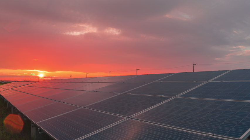 Time-lapse 4K large industrial Solar Energy Farm producing concentrated solar power.Day to night  | Shutterstock HD Video #1058306398