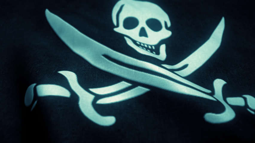 Pirate flag waving in a loop mode.  Royalty-Free Stock Footage #1058327824