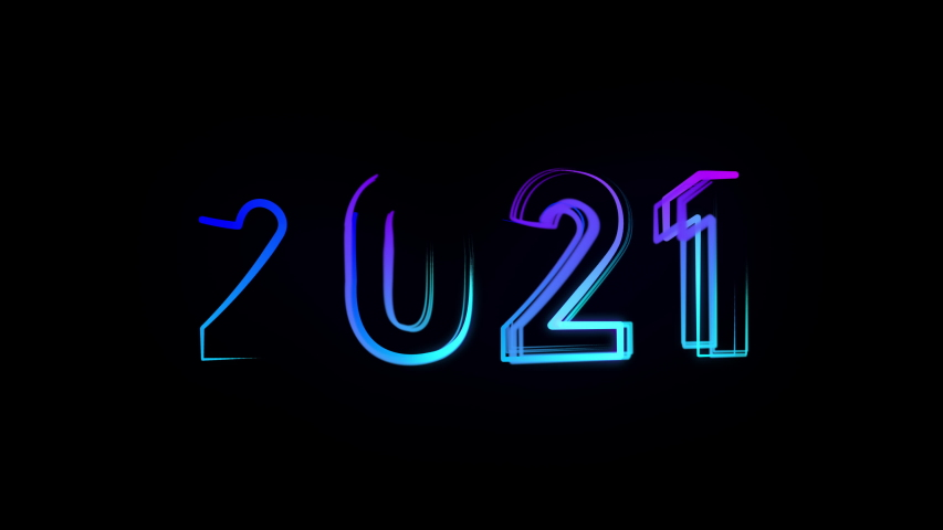 2021 Happy New Year Bright Multicolored Animation Numerals of the New Year Glowing. Colored Neon Light Form Generated Circle and Wave Digits. Isolated Colorful Symbols Shape Date Sign Rays 4K | Shutterstock HD Video #1058327842