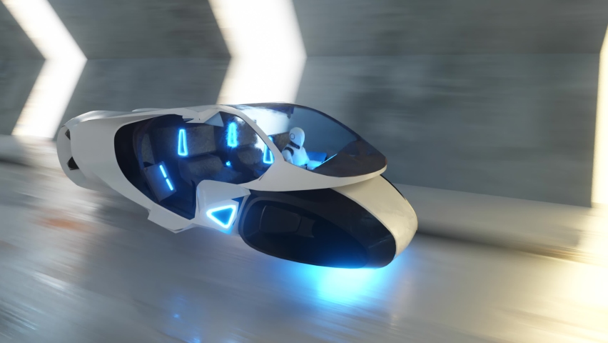 Flying a robot behind the wheel of a futuristic car in a long tunnel. Artificial intelligence and future concept. Seamless loop 3d render. | Shutterstock HD Video #1058333566