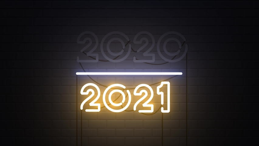 2020-2021 change Happy New Year 2021 neon sign background new year resolution concept