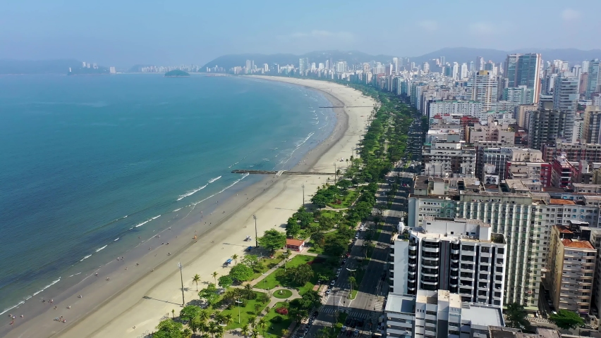 Santos, Brazil. Aerial View of Beach Front Avenue. Channel 5 Area. Aerial Landscape South Coast of Sao Paulo. Santos, Brazil. Tropical Travel. Beachfront Scene, Santos. Vacation Travel Landscape.