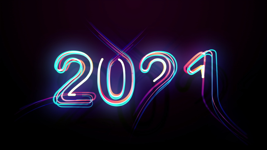 2021 Isolated Colorful Symbol Shape Date Sign Rays. Bright Multicolor Glow Numerals New Year Flicker and Glowing. Colored Neon Light Form Party Elegance and Wave Digits Black Background 2021 Century