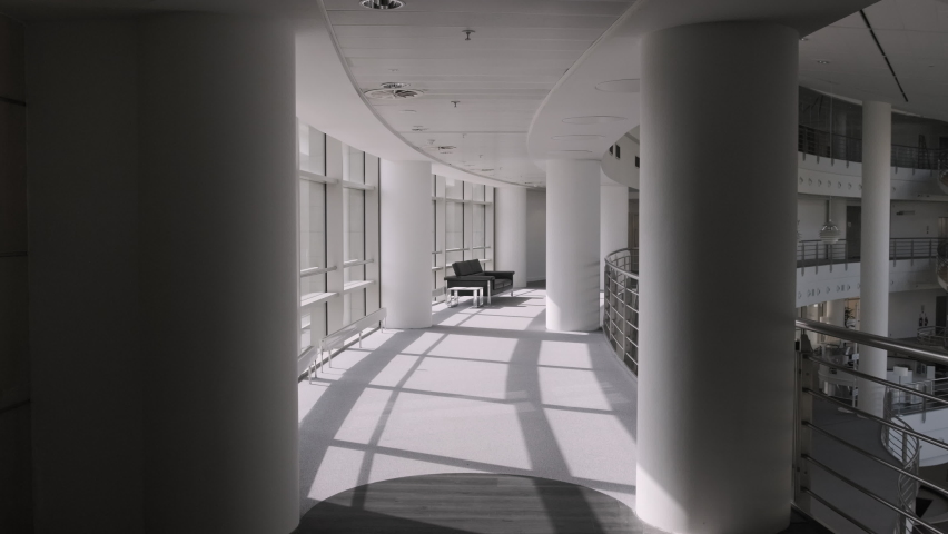Empty modern corporate business office lobby with sofa  Royalty-Free Stock Footage #1058373520
