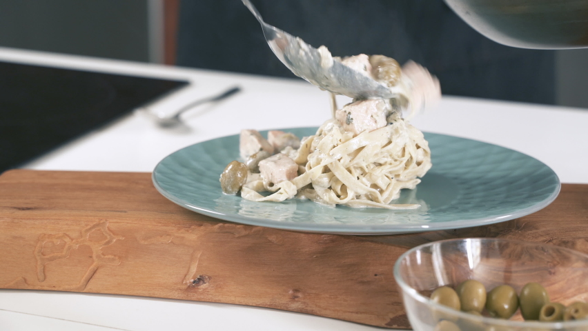 Chef Cooking Delicious Food In Restaurant Kitchen. Pasta On Dish. Gourmet Meal Food Recipe. Food Preparation. Cook Making Dinner In Italian Cuisine Eatery. Gastronomy Culinary. Catering Kitchen. | Shutterstock HD Video #1058383453