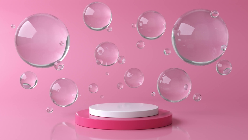 Pink and white round stage, pedestal or podium and water and glass bubbles or spheres. Pink pastel background advertisement. Background or mock up for cosmetics or fashion. 3d animation in 4K Royalty-Free Stock Footage #1058392468