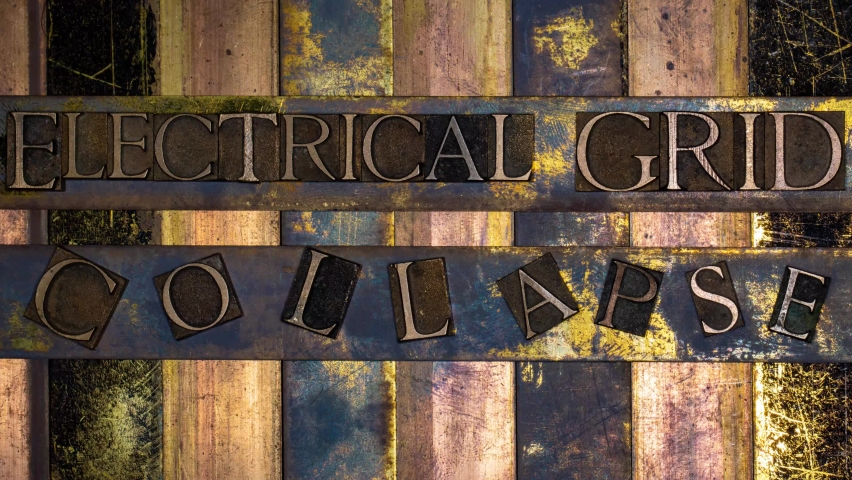 Electrical Grid Collapse animated digital glitch text formed with real authentic typeset letters on vintage textured silver grunge copper and gold background Royalty-Free Stock Footage #1058403535