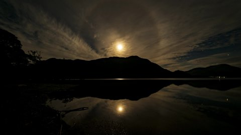 A Time-lapse of of the Moon and Mars over Ullswater in the English Lake District