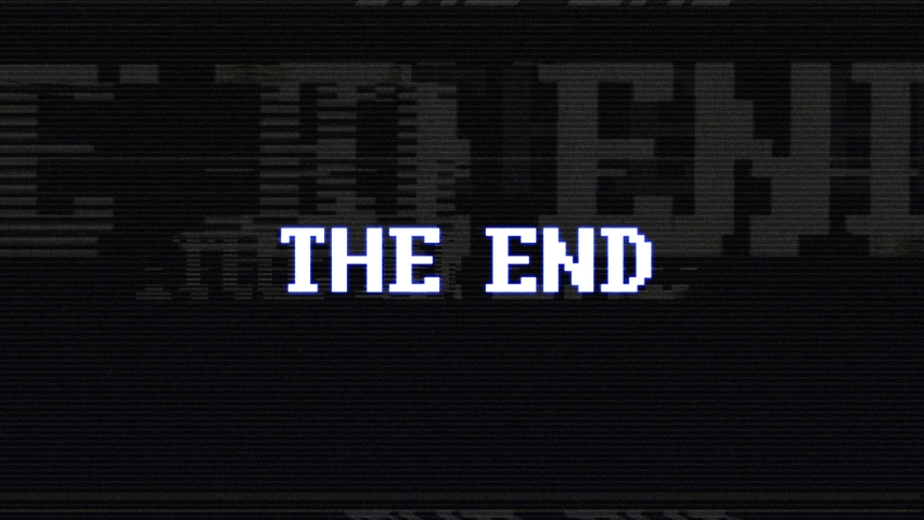 THE END Glitch Text Animation with Luma Matte, Old Gaming Console Style, Rendering, Background, Loop.