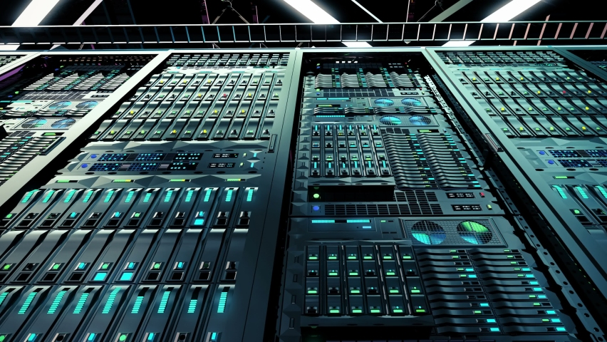 Camera Dolly Shot of a Working Data Center With Rows of Rack Servers in slow motion. Digitalization of Information. Big Data Storage. Dark server room in modern data center. Powerful servers, looped. Royalty-Free Stock Footage #1058412088