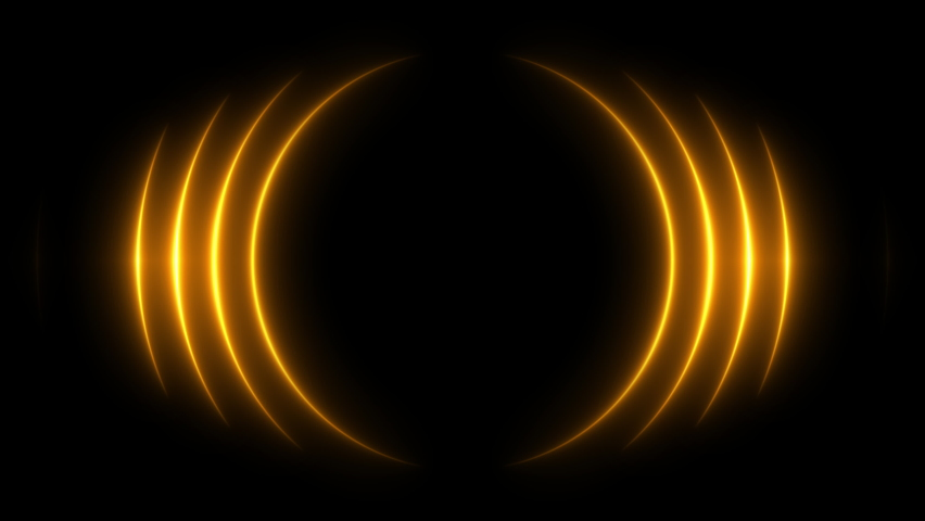 Golden award background waves animation come from center. Bright neon lights motion for glamour concept. Seamless loop.