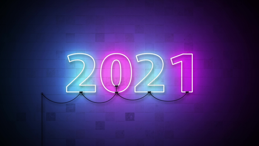 Animation 4K. 2020-2021 Change Happy New Year 2021 neon sign background new year resolution concept. Royalty-Free Stock Footage #1058449375