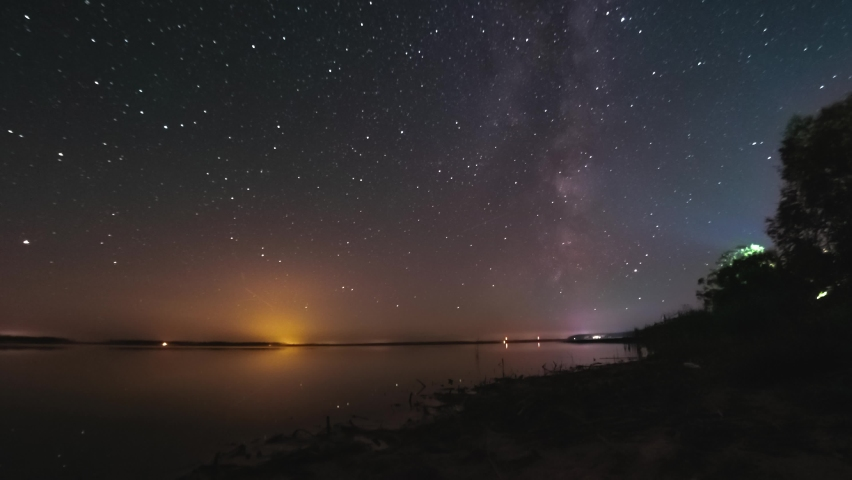Timelapse of night sky with stars above flat calm lake. Milky way is visible. Space, galaxy, Earth rotating concept