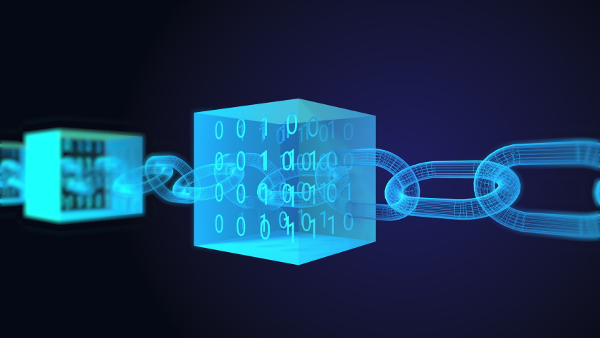 Block chain concept - Chain consists of network connections . cubes with binary numbers inside. interconnected blocks of data depicting a cryptocurrency blockchain on a dark background Royalty-Free Stock Footage #1058464870
