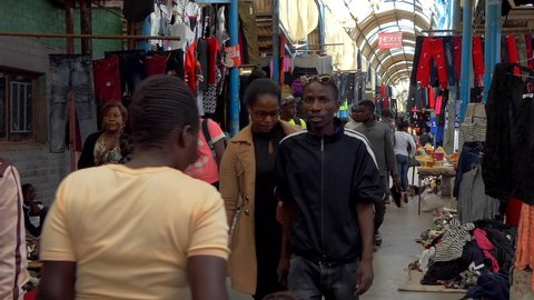 Unidentified people in a market in Lusaka, the capital of Zambia, Southern Africa, 2020