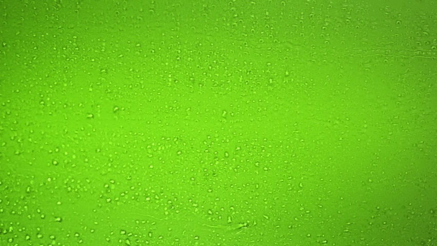 Water drops falling down on the glass of beer. Dater drops on green glass close up view. Rain drops on bottle. Water droplets falling on glass surface. Water drops falling vertical. Drop. Raining.