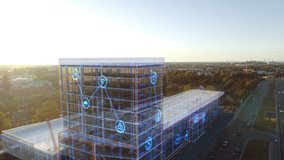 Aerial Drone Footage with VFX Concept: Building Construction Site Gets Finished with 3D Graphics Animation with Internet Icon Signs. Visualization, Digitalization, Design, Development of Smart City