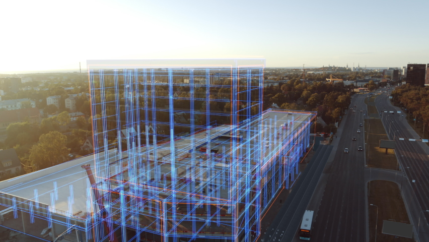Aerial Drone Footage with VFX Concept: Building Construction Site Becomes Finished Project with 3D Graphics Animation Effects. Visualization, Digitalization of Design, Development of Futuristic City Royalty-Free Stock Footage #1058475700