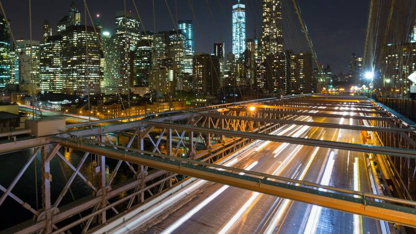 Traffic on Brooklyn Bridge and skyline / New York City, New York, United States,Nare | Shutterstock HD Video #1058483587