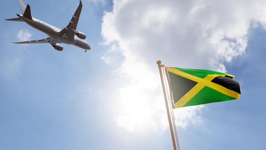 Flag of Jamaica Waving with Airplane arriving or departing, Realistic Animation   Shutterstock HD Video #1058484703