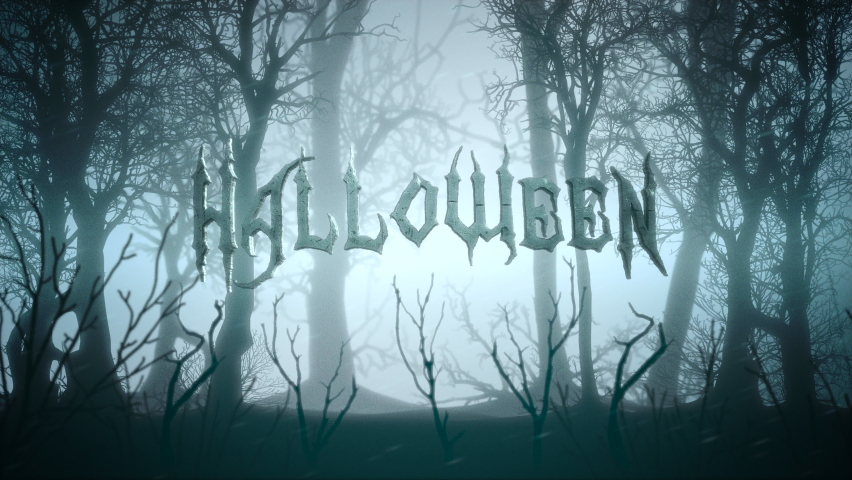 Animation text Halloween and mystical background with dark forest and fog, abstract backdrop. Luxury and elegant dynamic animation footage of halloween theme | Shutterstock HD Video #1058485150