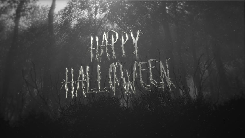 Animation text Happy Halloween and mystical halloween background with dark forest and fog, abstract backdrop. Luxury and elegant dynamic animation footage of halloween theme | Shutterstock HD Video #1058485174