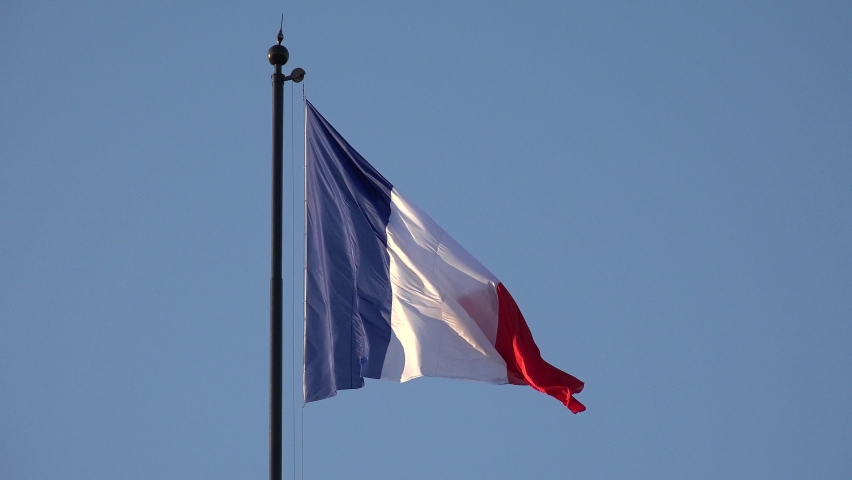 PARIS, FRANCE, JUNE 30, 2019 France Flag in Paris, French Banner Waving on Blue Sky at Sunset, National Patriotic Symbol, Patriotism Sign View in Europe | Shutterstock HD Video #1058485978