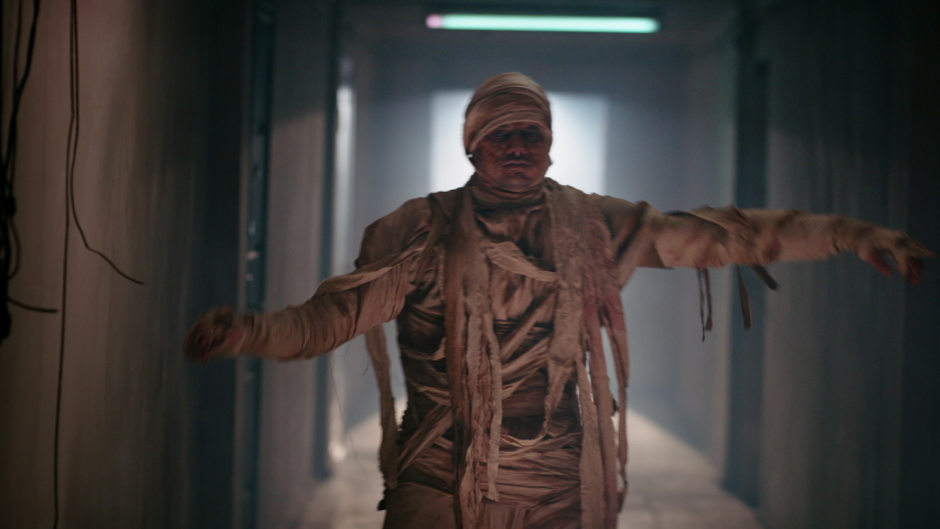 Guy in thematic bandaged costume of halloween mummy doing a funny dance in corridor, celebrating halloween - horror, halloween concept 4k footage | Shutterstock HD Video #1058486254