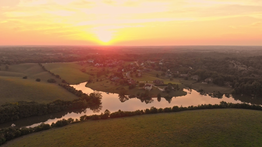 Aerial view of sunset over rural neighborhood in Central Kentucky