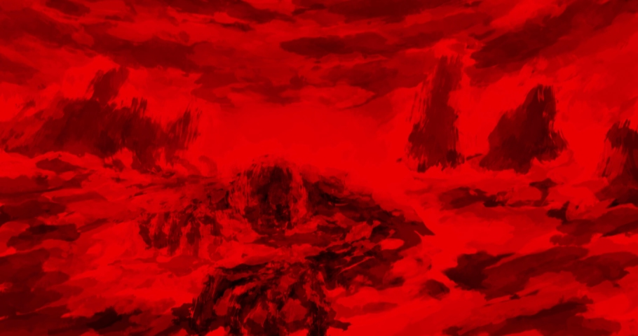 Dark visions of hell animation. Horror fiction in black and red background. Motion graphics for VJ loops and music clips. 4K grunge video with brush strokes. | Shutterstock HD Video #1058492197