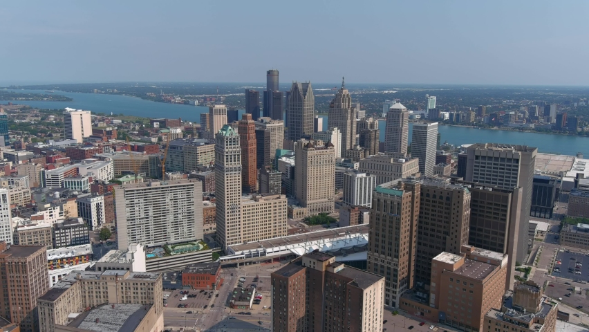 High angle aerial shot of downtown Detroit. This video was filmed in 4k for best image quality.