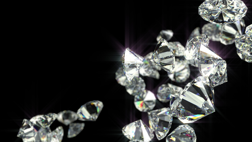 Beautiful diamonds Fallen with reflection. Front Focus. Transparent Alpha Channel and Luma Matte, ProRes 4444 12bit codec. Isolated on black background. 3D render. Depth of Field. Slow Motion. | Shutterstock HD Video #1058494948