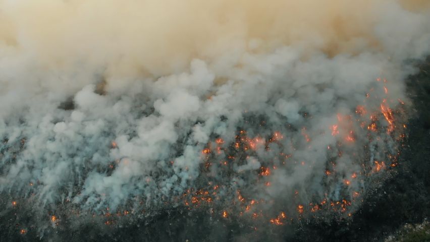 Top aerial view at fire at garbage dump, burning pollutes the environment. Ecological catastrophe and destruction of nature, large fire area | Shutterstock HD Video #1058497261