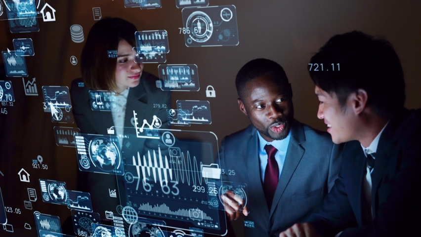 Multi ethnic people meeting in dark room. Business and technology concept. Smart office. GUI (Graphical User Interface). Royalty-Free Stock Footage #1058518912