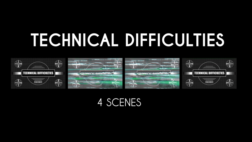 Animation pack of a program or show having technical difficulties with four different effects such as plain, glitching, flickering and with noise background.