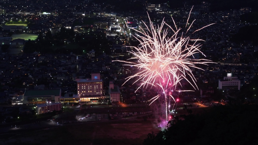Fireworks display is a typical summer scene in Japan. | Shutterstock HD Video #1058544973