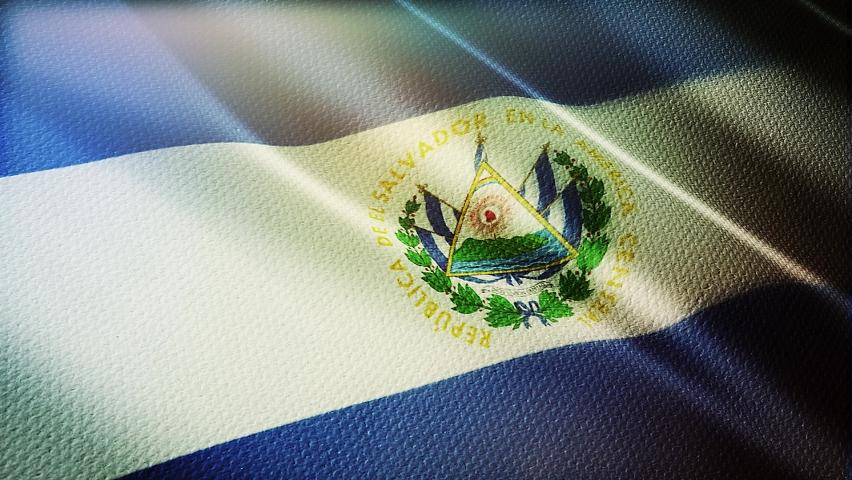 El Salvador flag is waving 3D animation. El Salvador flag waving in the wind. National flag of El Salvador. flag seamless loop animation. high quality