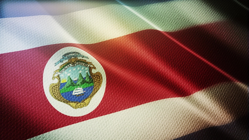 Costa rica flag is waving 3D animation. costa rica flag waving in the wind. National flag of costa rica. flag seamless loop animation. high quality | Shutterstock HD Video #1058558905
