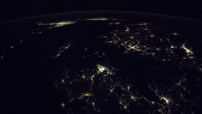 ISS Time-lapse Video of Earth seen from the International Space Station with dark sky and city lights at night over Nile , Time Lapse 4K. Images courtesy of NASA.