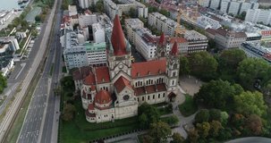 The Mexico Church, The Emperor's jubilee church, St. Francis of Assisi Church, Vienna by the drone. 4k