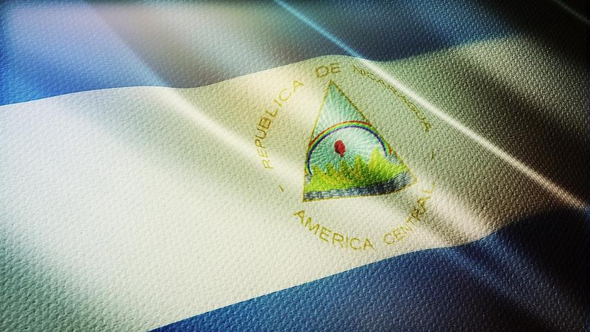 Nicaragua flag is waving 3D animation. Nicaragua flag waving in the wind. National flag of Nicaragua. flag seamless loop animation.