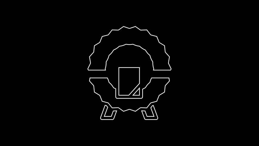 White line Memorial wreath icon isolated on black background. Funeral ceremony. 4K Video motion graphic animation