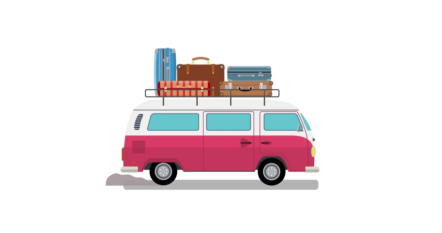 Flat design animation of a moving car. retro travel van car with bag on roof Seamless Loop animation. Transportation concept. With black and white luma matte for alpha. 4K,HD,SD resolution.