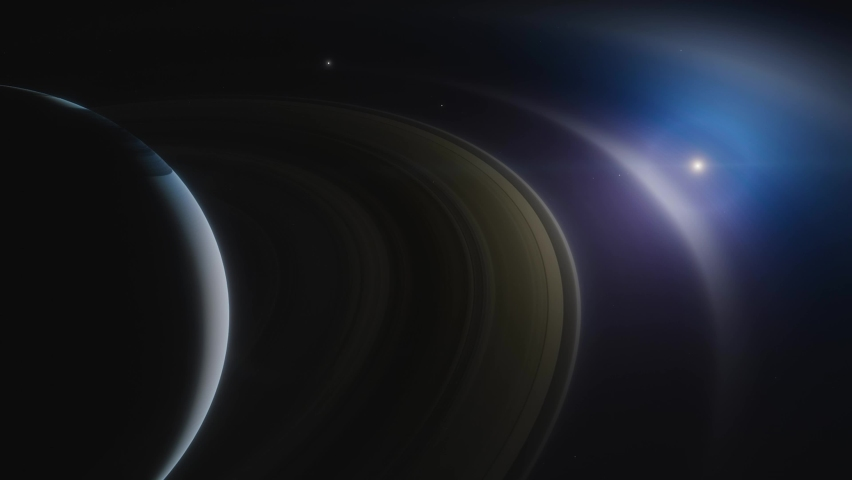 Saturn is a huge planet of the solar system with beautiful rings. Cinematic animation of planet Saturn  | Shutterstock HD Video #1058576317