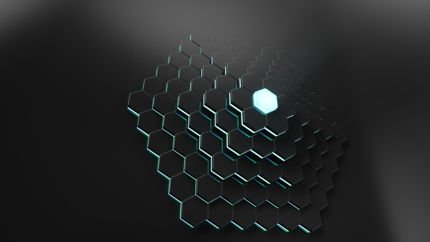 Animation abstract futuristic hexagons moving up, down. Polygon surface with luminous hexagon in the center, hexagonal honeycomb. Sci-fi technology background for business presentation. Looped 4k
